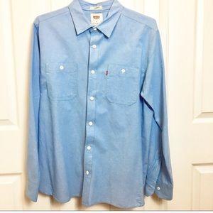 LEVIS Mens Light Blue Dress Shirt - Medium